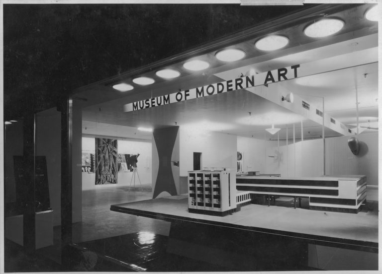 Installation view of the exhibition 'Bauhaus: 1919-1928', on view December 7, 1938 through January 30, 1939 at The Museum of Modern Art, New York (photo by Soichi Sunami)