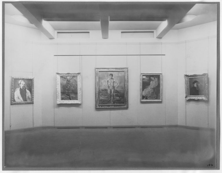 Installation view of the exhibition 'Cézanne, Gauguin, Seurat, Van Gogh,' on view November 7, 1929 through December 7, 1929 at The Museum of Modern Art, New York (photo by Peter Juley)